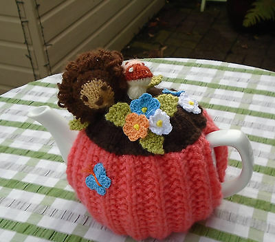 Hand Knitted Hedgehog In The Flower Garden Tea Cosy For A Medium Teapot