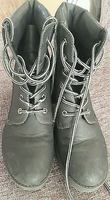 Ladies Womens Black Chunky Heel Lace Up Ankle Boots Size 6