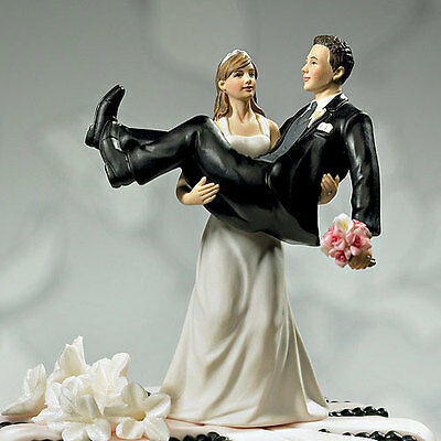 Hand Painted Porcelain Funny Bride Carrying Her Groom  Wedding Cake Topper
