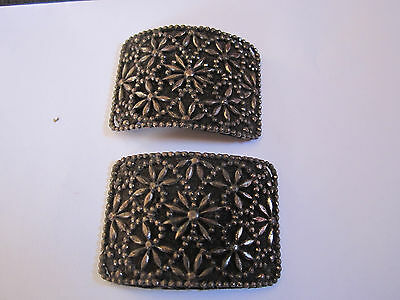 Vintage French Edwardian/ Deco Riveted Steel Faux Marcasite Shoe Buckles / Clips