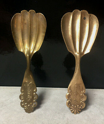 2 Antique Brass Candy Advertising  Spoons c. Early 1900's