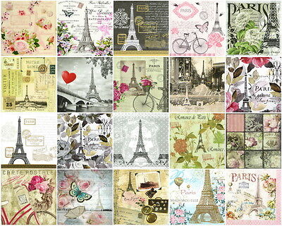 20x Different Paper Napkins - Paris Mix - for Party, Decoupage Craft