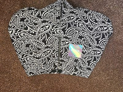 Missguided Size 10 Black & White Paisley Print High Waisted Shorts