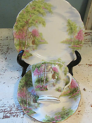 Vintage Royal Albert The Old Mill Bone China Cabinet Cup Saucer Plate Trio