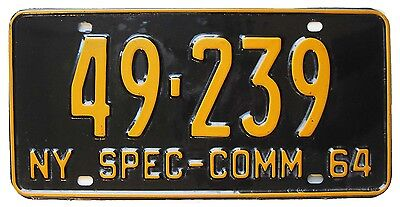 New York 1964 SPECIAL COMMERCIAL License Plate, Single Plate Year, BLACK BEAUTY!