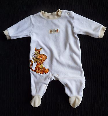 Baby clothes UNISEX BOY GIRL 0-3m DISNEY TIGGER soft white velour babygrow