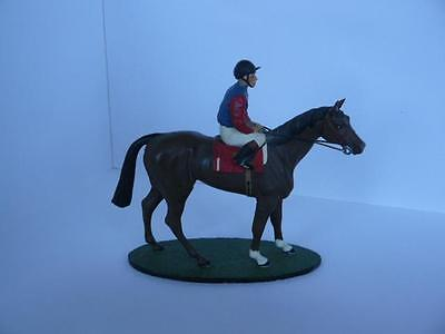 Rare Vintage 60Mm 1/32 Scale Handpainted Metal Horse & Jockey Queens Colours