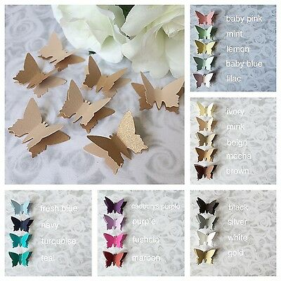 30 Small Shimmer 3D Elegant Butterfly Confetti Table Decoration Wedding Toppers