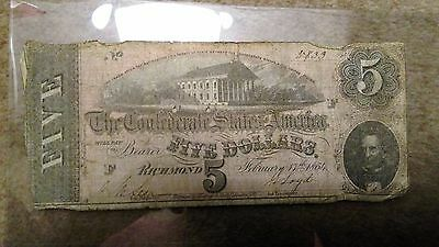 Confederate States of America $5 Note from Febuary 17th 1864