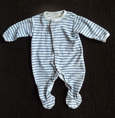 Baby clothes BOY 0-3m Mothercare blue/pale blue stripe soft towelling babygrow