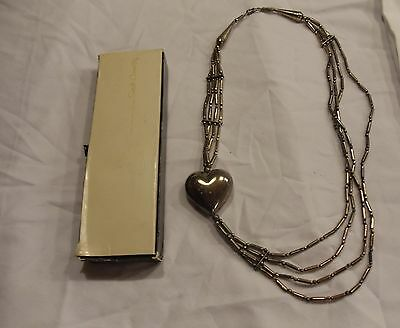 Silver elongated Bead necklace BIG HEART 4 strands possible Sarah Coventry 99¢