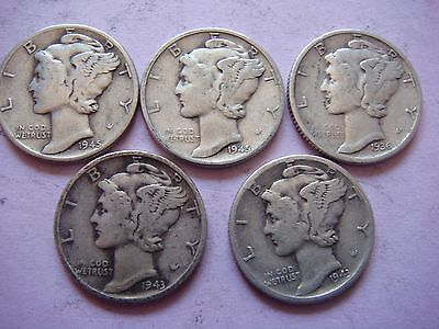 Lot of 5 Mercury Head Dimes very nice old coins 90% Silver  #9411