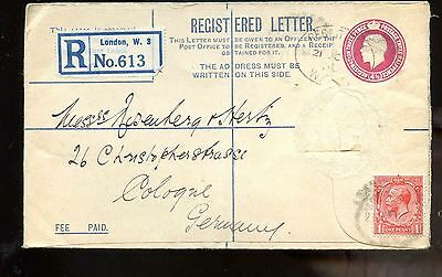 GB  1930 KGV reg upgraded postal stationary cover London to Cologne, Germany B/S
