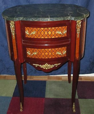 19th C Style Green Marble Top Side Table 2 Drawers