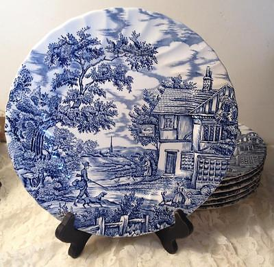 Myott Stafforshire The Hunter Dinner Plate Blue White Transferware England