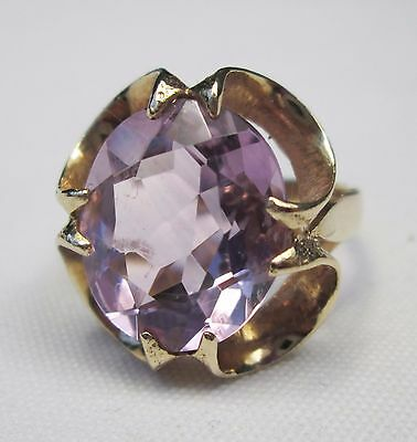 Vintage Chunky 9ct Gold Oval Cut Amethyst Dress Cocktail 7 Carats Ring Size M