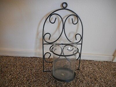 """Wall Mount Black Metal  Sconce Candleholder With Glass  13 1/2"""" High"""