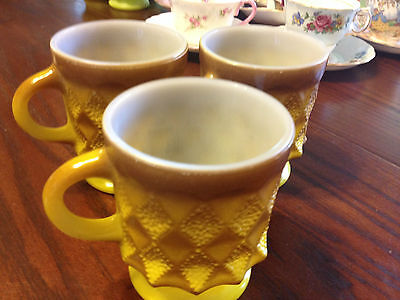 3 Vintage Fire King Mugs Cups Kimberley Anchor Hocking Yellow