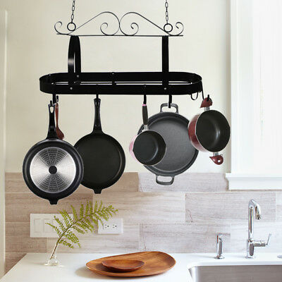 SWIRL DESIGN WROUGHT Iron Kitchen Hanging Pot Rack/pan ...