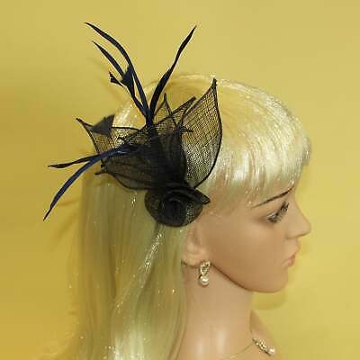 Navy blue fascinator with hessian rose, petals, and feather tendrils (beak cl...