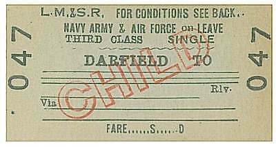 "LMS Railway Train Ticket 047 DARFIELD ""Navy Army & Air Force on Leave"""