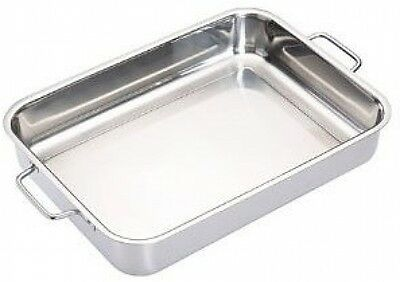 Stainless Steel Roasting Pan Deep Large Tin Roaster Cooking Tray Foldable Handle