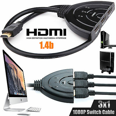 3 Ports HDMI 1080P 3D Switch Switcher Splitter HUB Box Cable LCD HDTV PS3 Xbox