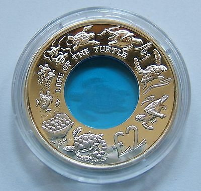 2009 Proof ~ Life of the Turtle Blue Crystal Silver Coin ~ British Indian Ocean