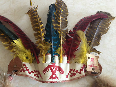Vintage Child's Qualla Reservation Cherokee Headdress w Raccoon Tail