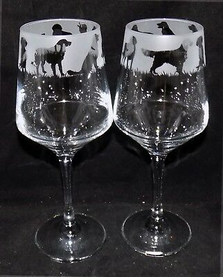 """New Etched """"GOLDEN RETRIEVER""""  Wine Glass(es) Free Gift Box - Large 390mls Glass"""