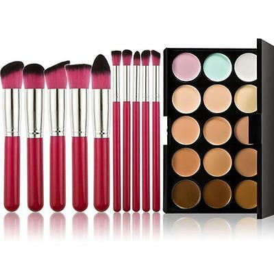10pcs Makeup Brushes Set Powder Foundation Eyeshadow Tool +15 Colors Concealer