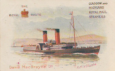 Glasgow and Highland Royal Mail Steamers, RMS Columba - The Royal Route Postcard