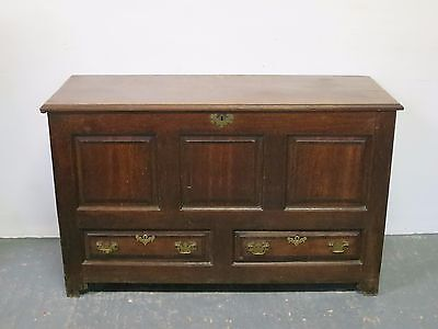 Solid Oak Antique Tall Bedding Box with Underneath Drawers