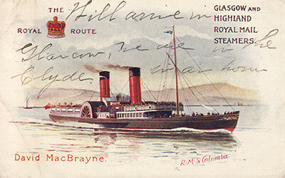 Royal Mail Steamers, RMS Columba - The Royal Route PC - Postally Used onboard