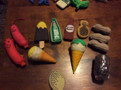 food erasers rubbers 1980's vintage