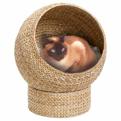 Cat Den with Cushion Bed House Pet Kitten Wicker
