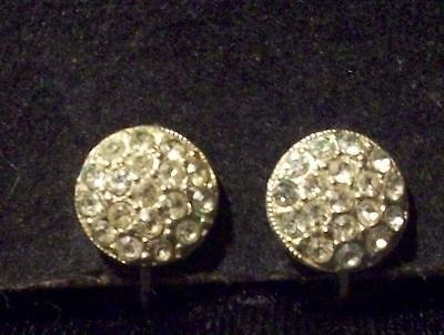 Vintage Antique Silver Tone Dainty Round Rhinestone Filled Disk SB Earrings