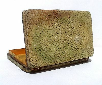 RARE LOVELY ANTIQUE WHITE METAL SHAGREEN & GILTED CARD CASE c1900