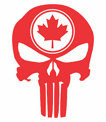 Punisher Skull Maple Leaf Vinyl Decal Sticker Canadian Flag Truck Motorcycle JDM
