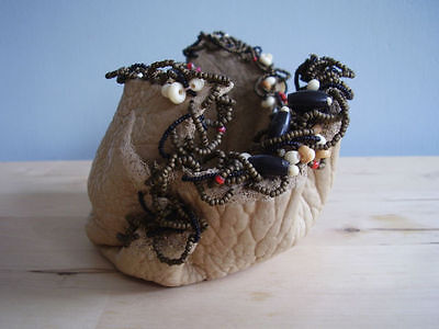 American Indian Vintage Buffalo Leather Vessel With Beads