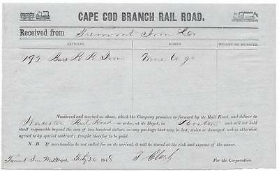 Cape Cod Branch Railroad - Promissory Delivery Note to Worcester Railroad - 1848