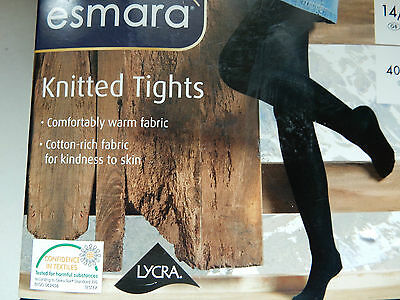 Black Knitted Textured  Tights    size 14-16   Cotton Rich