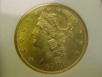 1904 Liberty Double Eagle Gold $20  Ngc  Ms 62 Lustrous Gorgeous Coin Old Holder