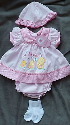 Reborn baby girl dress sets with pants and hat FREE SOCKS AND NAPPY Mollie & Joe