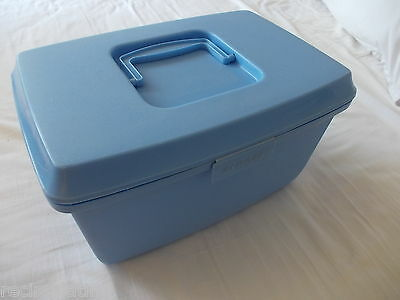 Vintage Retro Blue Singer Sewing Box with Tray Excellent Condition