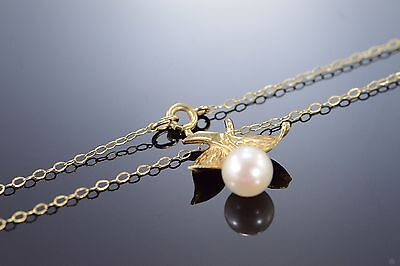 """14K 6mm Pearl Floral Motif Necklace 16"""" Yellow Gold"""