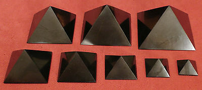 Shungite Polished Pyramids 30mm - 100mm Healing Protection from Karelia Russia