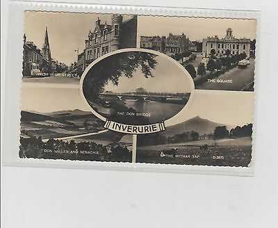 Inverurie Multiview Real Photograph P/M Aberdeen 1966 To Winding Brae Longside