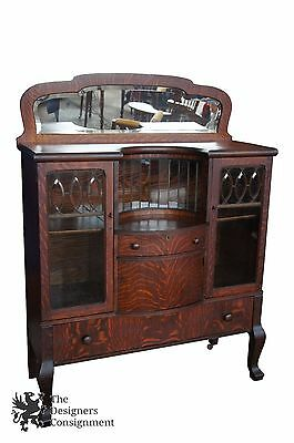 Antique Quartersawn Oak Bowfront Buffet Bookcase Leaded Glass + Mirror Dry Bar