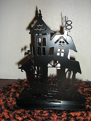 # 2 Retired Yankee Candle Medium Halloween Haunted House Tl Holder Silhouette Ne